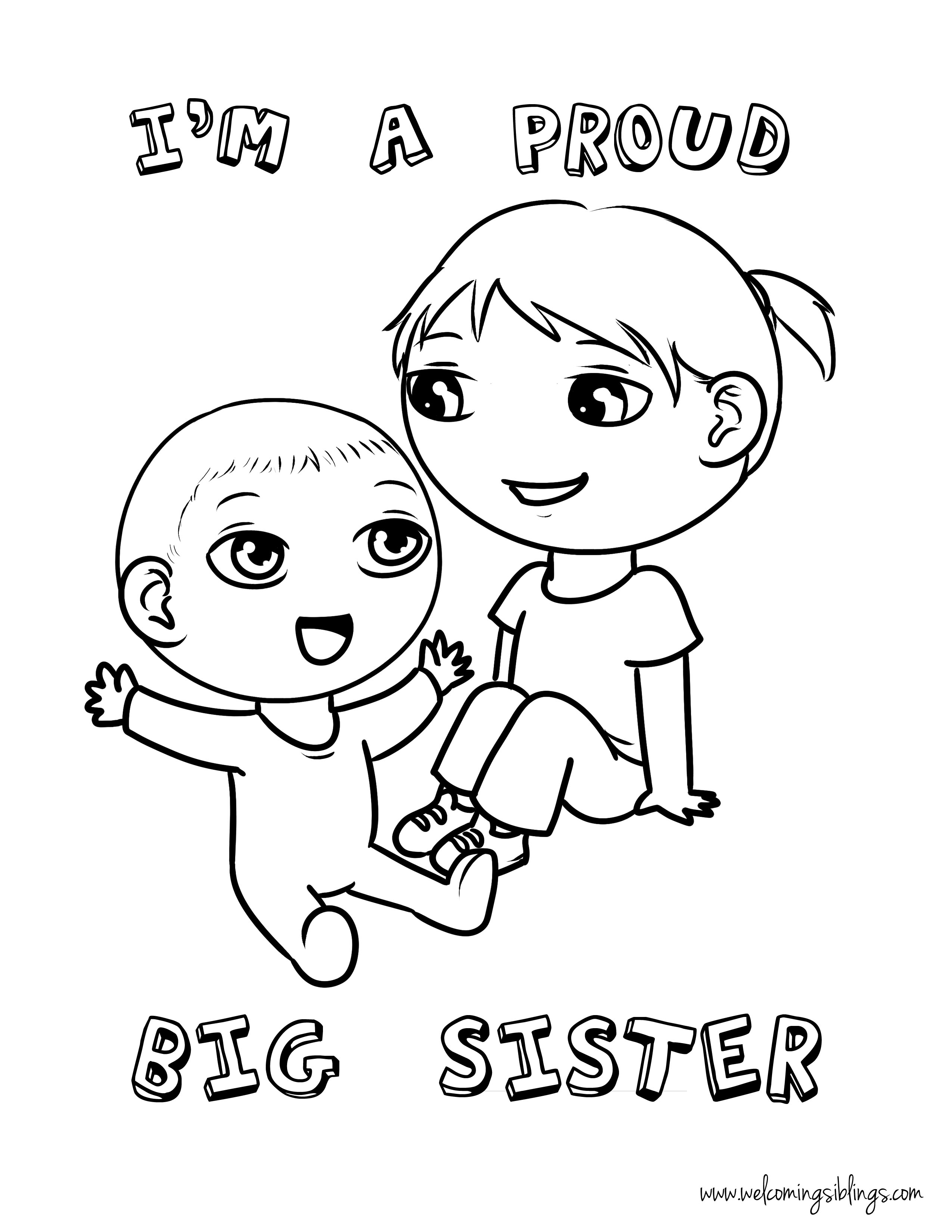 sister coloring pages Free